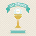 Holy communion card template first in cream and aqua with copy space for personalizing Stock Images