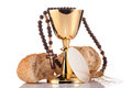 Holy communion chalice composition isolated on white Royalty Free Stock Image