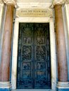 The holy door st paul outside the walls made of golden bronze created by sculptor enrico manfrini and erected for jubilee of year Stock Image