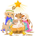 Holy family christmas nativity scene with Royalty Free Stock Photos