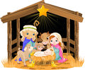 Holy family at christmas night nativity scene with Royalty Free Stock Images