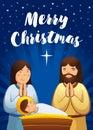 Holy family scene, Christmas nativity greeting card