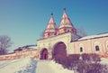 Holy gate of Rizopolozhensky monastery Royalty Free Stock Photo