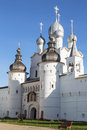 Holy Gates, the Resurrection Church and wall of the Kremlin of the Rostov Veliky Royalty Free Stock Photo