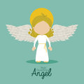 Holy guardian angel over blue background vector illustration Royalty Free Stock Photos