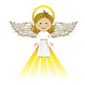 Holy guardian angel over white background vector illustration Stock Photos