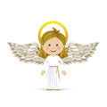 Holy guardian angel over white background vector illustration Stock Images