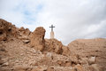 Holy land desert christianity a cross in israeli judean travel Stock Photo