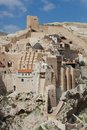 Holy Lavra of Saint Sabbas the Sanctified, known in Arabic as Mar Saba monastery perched on the rocks in the Judean Royalty Free Stock Photo