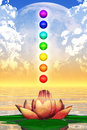Holy lotus and chakra spheres d rendering of the with rainbow colors Royalty Free Stock Photography