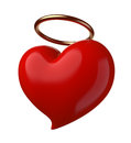 Holy love red heart with a golden nimbus isolated on white Royalty Free Stock Photography