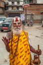 Holy man in kathmandu streets Stock Photos