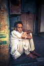 Holy men of india bikaner indian sadhu man sitting in front his house in one the poorest districts it s the eve diwali Stock Photography