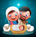 Holy night when jesus born in manger with joseph and mary vector characters for christmas