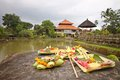 Holy offerings at royal temple of bali indonesia Royalty Free Stock Image