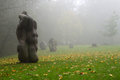 Holy place in sigulda shrines in the fog photo of a on a mountain nature photography a latvia Royalty Free Stock Images