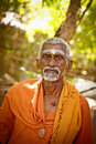 Holy sadhu men in india saffron color clothing blessing shiva temple january tamil nadu tiruvanamalai Royalty Free Stock Image