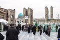 Holy shrine of imam reza mashhad iran february people at the entrance to in mashhad iran on february the mausoleum is Royalty Free Stock Image
