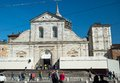 Holy shroud exhibition in torino italy april pilgrims waiting at the entrance of the cathedral of turin italy for wide angle view Royalty Free Stock Image