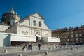 Holy shroud exhibition in torino italy april pilgrims waiting at the entrance of the cathedral of turin italy for wide angle view Royalty Free Stock Photo