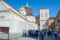 Holy shroud exhibition in torino italy april pilgrims waiting at the entrance of the cathedral of turin italy for wide angle view Royalty Free Stock Images
