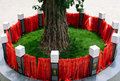 Holy tree, Chinese zodiac animals, red ribbons Stock Images