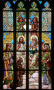 Holy Trinity. Art Nouveau stained glass window. Royalty Free Stock Photo