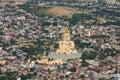 Holy trinity cathedral tbilisi georgia landscape of with the biggest orthodox of caucasus region — tsminda sameba — the main Stock Photo