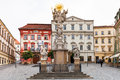 Holy Trinity Column Cabbage Market Square in Brno Royalty Free Stock Photo