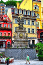 Holy Trinity Column Plague Column in Karlovy Vary, Czech Republic. Royalty Free Stock Photo