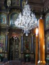 Holy trinity greek orthodox church vienna chandelier and frescoes in austria Royalty Free Stock Images