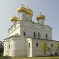 Holy trinity ipatiev monastery kostroma russia cathedral russian orthodox of the fortress summer sky blue green white dome Royalty Free Stock Image