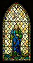 Holy trinity stained glass window depicting the christian concept of the father son and spirit Royalty Free Stock Photography