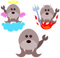 Holy or unholy a walrus in the middle of his angel and devil Royalty Free Stock Photography