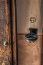 Holy water dish just inside the door at the spanish mission in san diego california Royalty Free Stock Photo