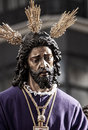 Holy week in seville jesus captive and rescued step mystery of the brotherhood of polygon through the streets of at easter or Stock Photo