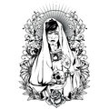 Holy woman t shirt or poster print design Stock Photos