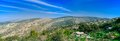 Holyland series judea mountains panorama a panoramic view soreq creek and in this area samson and delila and goliath and david Stock Image