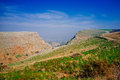 Holyland series mt arbel no is a high ridge above the sea of galilee from which you can see golan heights jordan galilee and of Stock Photo