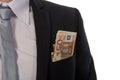 Hombre de negocios con el dinero en su bolsillo Imagenes de archivo