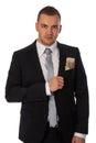 Hombre de negocios con el dinero en su bolsillo Imágenes de archivo libres de regalías