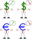 Hombre de negocios with dollar euro Fotografía de archivo libre de regalías