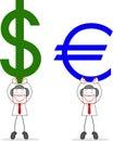 Hombre de negocios with dollar euro Fotos de archivo libres de regalías
