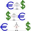 Hombre de negocios with dollar euro Fotografía de archivo