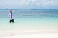 Hombre de negocios en la playa Fotografía de archivo