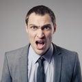 Hombre de negocios enojado screaming Fotografía de archivo