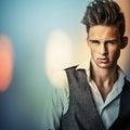 Hombre hermoso joven elegante coloree el retrato pintado digital de la imagen de la cara de los hombres Imagen de archivo libre de regalías