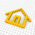 Home 3d icon in grid Stock Image