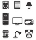 Home appliance icons design in black and white Stock Image
