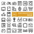 Home appliance line icon set, household symbols collection, vector sketches, logo illustrations, electrical appliances Royalty Free Stock Photo